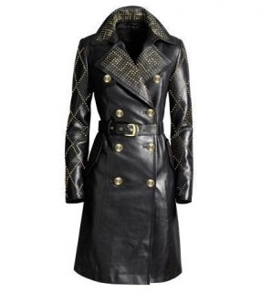 NWT US Size 10 Versace for H M Leather Long Coat Trench Coat Jacket