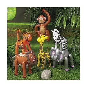 Safari Animal Jungle Zoo Inflatable Zebra Monkey Lion Party Favors
