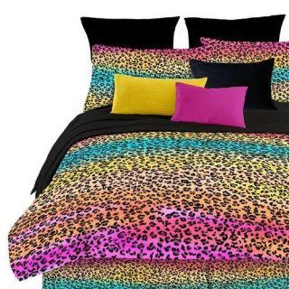 PC Rainbow Leopard Queen Comforter Set Sheet Set Colorful Animal Print