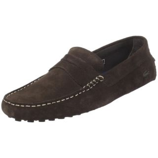 Lacoste Mens Concours Dark Brown Suede Slip on Casual Penny Loafers