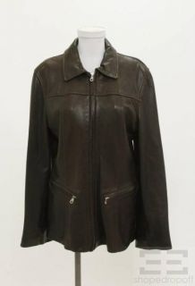 Andrew Marc Brown Leather Zip Front Jacket Size Large