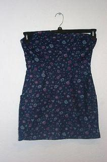 forever 21 bustier dress dark blue floral print size l