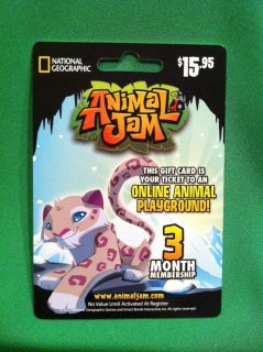 Animal on Animal Jam National Geographic Gift Membership Card Lion King Of The