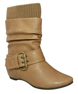 Blossom Amar 24 Women Round Toe Mid Calf Boot PU Upper Buckled Band