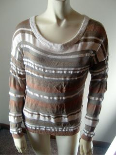 ANN TAYLOR LOFT Sz L Cotton Sheer Striped Beige Taupe Scoop Neck Knit