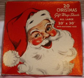 Vintage Christmas Santa Angels Gift Wrapping Paper Good Housekeeping