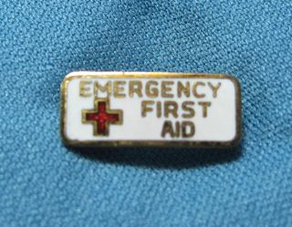American Red Cross Emergency First Aid Enamel Goldtone Metal Lapel Pin
