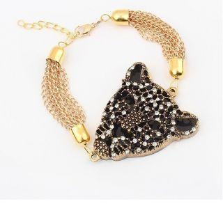 Design Crystal Animal Gold Leopard Tiger Charm Link Chains Bracelet