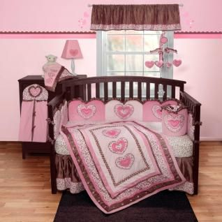 Pink & Light Pint Leopard Print Nursery Crib Bedding Set For Baby Girl