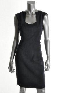 Anne Klein NEW Navy Wool Darted V Neck Sheath Wear to Work Dress 12