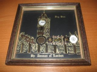 Vintage Original Ammon of London Horological Collage Art Big Ben Clock