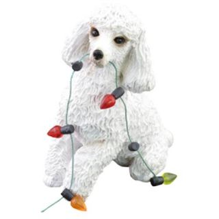 CHRISTMAS ORNAMENT WHITE POODLE DOG STATUE FIGURINE SCULPTURE