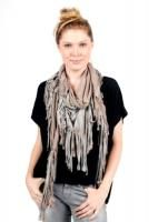 Donni Charm Karma Fringe Scarf in Taupe with Wing Charm