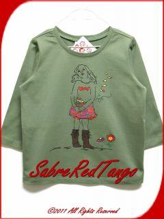 Hanna Andersson Girl on A Tee Shirt Terrain Green 130 8