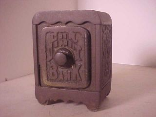 Antique Cast Iron Safe Bank Coin Deposit Bank