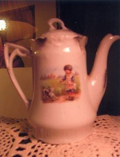 ANTIQUE CHILDS CHINA SCENIC CHOCOLATE POT   GIRL & DOG   NO MARK