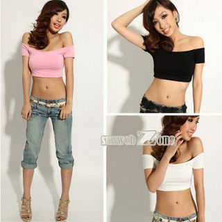 Womens Sexy Hip hop Off Shoulder Midriff Baring Club Party T Shirt
