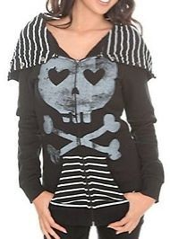 ABBEY DAWN BY AVRIL LAVIGNEHEARTCORE HOODIE BLACK ZIP S SMALL