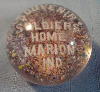 Vintage Old Antique Art Glass Paperweight Soldiers Home Marion Indiana