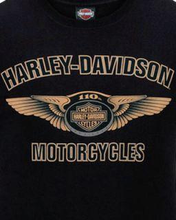 Harley Davidson Mens Official 110th Anniversary Wings Logo Black Biker