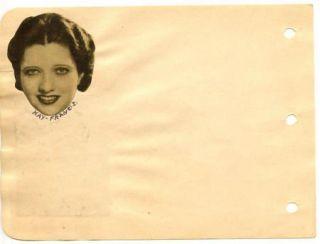 Lila Lee Vintage 1930s Original Signed Album Page Autograph Silent