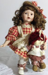 Girl Doll Country style w/ Raggedy Ann Large Rare ZY Toys Plastic Life