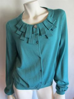 Ann Taylor Teal Blue Cardigan Sweater With Detailed Neckline Gorgeous