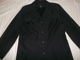 WOMENS SIZE L LARGE ANN TAYLOR FULL LENGHT BLACK TRENCH COAT RAINCOAT
