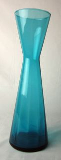 Vintage Mid Century Modern Blenko Glass Tall Blue Vase