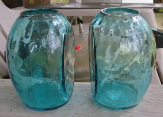 Vintage Blenko Art Glass Blue Green Book Ends Vase