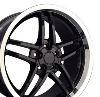 18 19 8.5/10 Black C6 Z06 Deep Dish Wheels Rims Fit Camaro Corvette