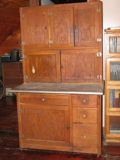 Antique Hoosier Kitchen Cabinet with Original Food Guide Want List