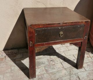 Chinese Antique Nightstand End Table Single Drawer