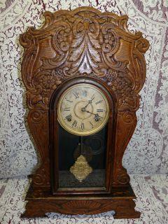 Antique 1895 1905 Wm. L. Gilbert Egyptian No 60 Pendulum Clock