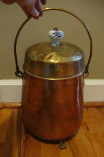 ANTIQUE VINTAGE COPPER & BRASS COAL ASH BUCKET W /LID PORCELAIN KNOB