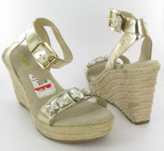 Michael Kors Wedge Ankle Strap Sandals Gold Metallic Womens Size 10 M