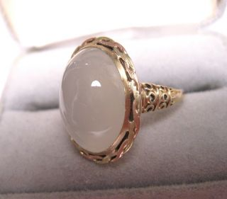 ANTIQUE 13CT HUGE SNOW WHITE MOONSTONE CUSTOM ART NOUVEAU 10K ROSE