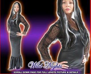 Ladies Morticia Addams Family Halloween Fancy Dress Costume Size 8/10