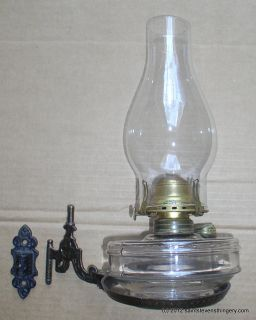 Antique Cast Iron Wall Bracket Oil Lamp, Chimney, Burner, Font
