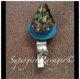 Vintage Metal Tin Friction Spinner Christmas Tree Santa Claus Push Toy