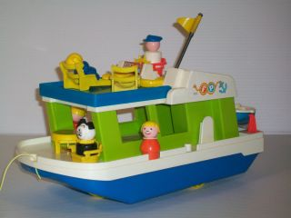 1972 Fisher Price Little People Happy House Boat 985 Pull Toy COMPLETE