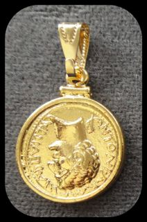 Marc Antony Cleopatra Cast Coin and Bezel 24K Gold Plated Pendant or