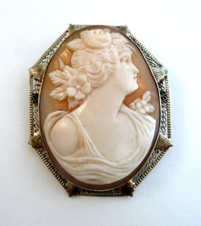 Antique Victorian 14k White Gold Filigree Carved Shell Cameo Pin