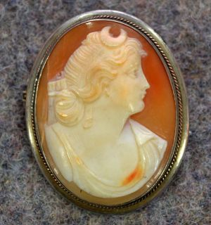 antique shell carved cameo brooch pin necklace lady head silver