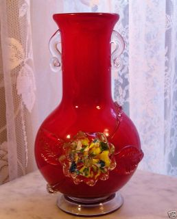 Antique Cased Art Glass Vase Deep Red Floral Rose Old Vintage