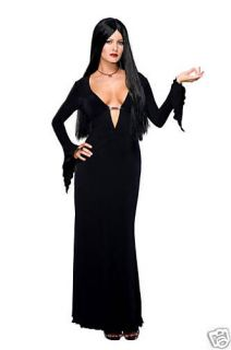 MORTICIA ADDAMS adams goth wig dress vampire adult womens halloween