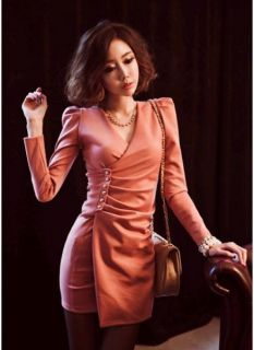 Orange Sexy Slim Lapel Button Cocktail Party Dress Club Night Womens