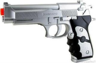 LARGE FULL SIZE 45 M9 92 AIRSOFT GUN SILVER GRIP PISTOL BERETTA rifle