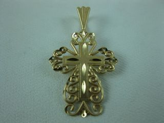 14k Yellow Gold Scroll Design Cross Pendant by Michael Anthony