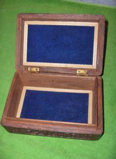 Vintage Hand Carved Teak Wood Trinket Jewelry Box Brass Inlay Hinged